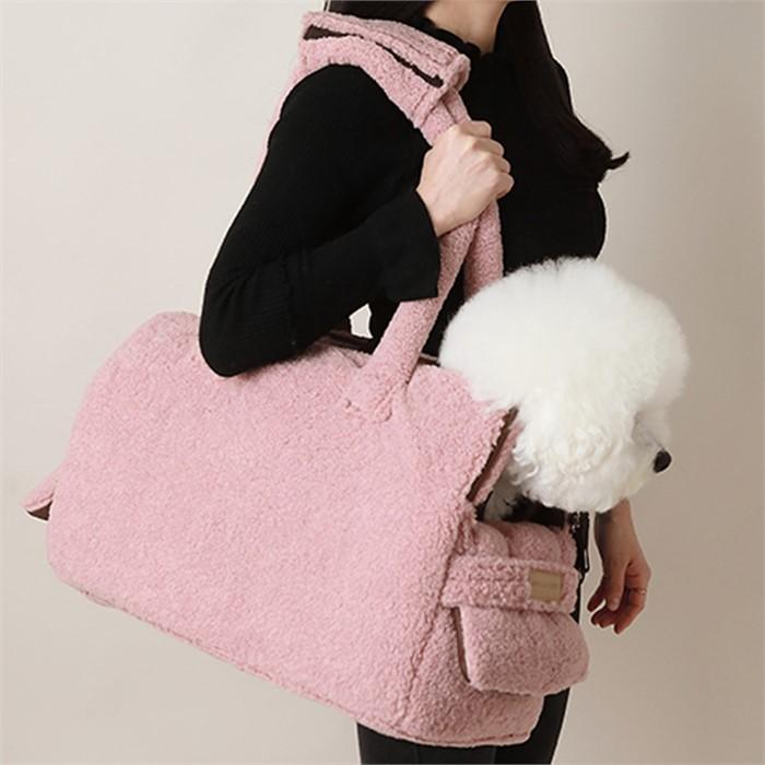 [댕댕이의 플렉스] 강아지 캐리어 르네덤블숄더백 핑크 고급이동가방