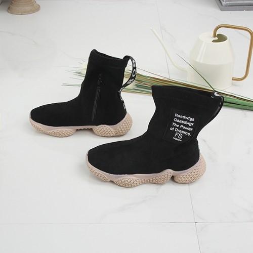 [한나] 사이드 라벨 안감털 키즈어글리부츠 초등겨울신발
