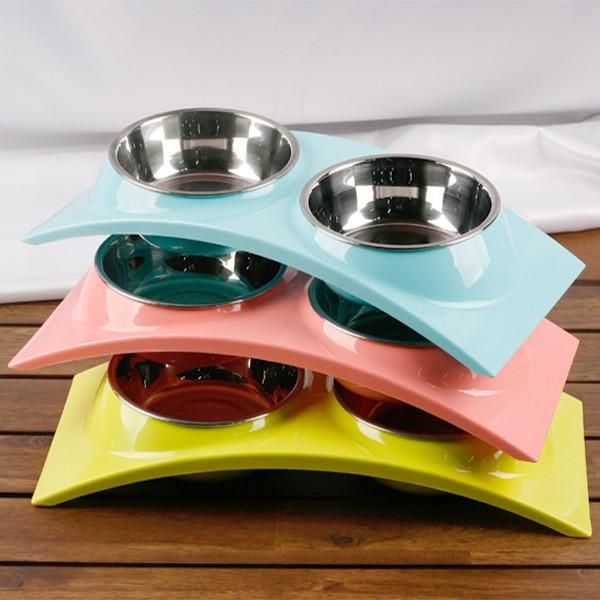 [트래블] 애견 스테인레스 2구 식기 사료 그릇