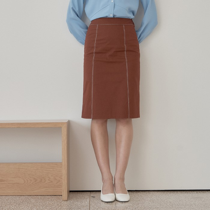 [엽페] STITCH SKIRT_BROWN
