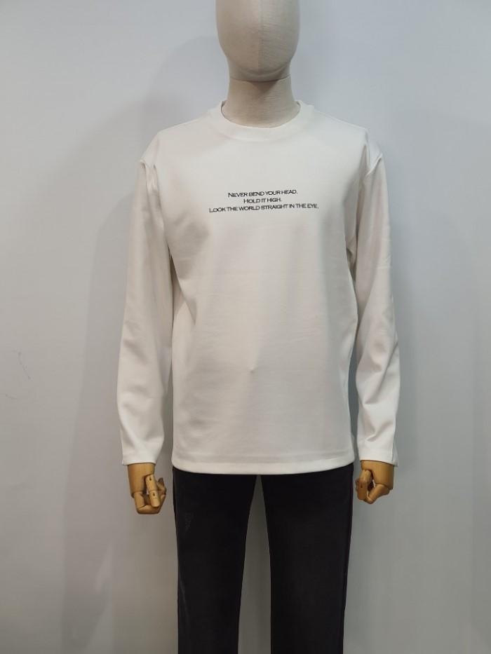[바쏘옴므] 화이트 세미오버핏 레터링 아트웍 티셔츠 WSU1KR04AWH