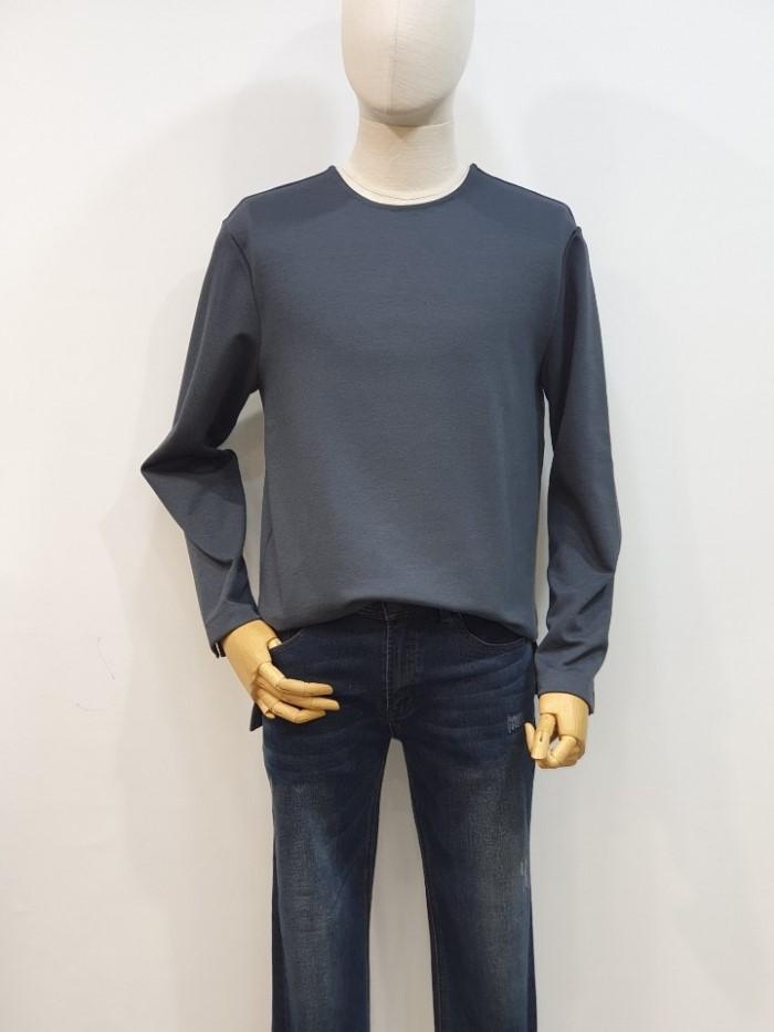 [바쏘옴므] 그레이 라운드 긴팔 티셔츠 WSU1KRA9AGR