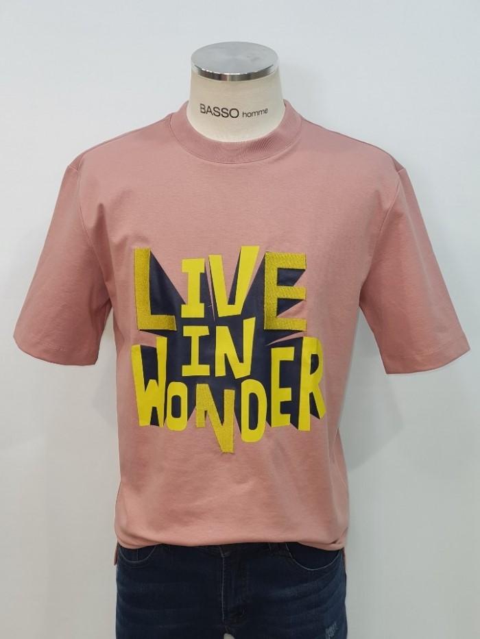 [바쏘옴므] 핑크 레터링 라운드 반팔 티셔츠 WST2KT14APK