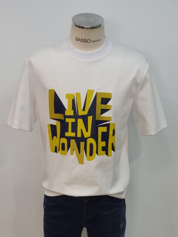 [바쏘옴므] 화이트 레터링 라운드 반팔 티셔츠 WST2KR13AWH