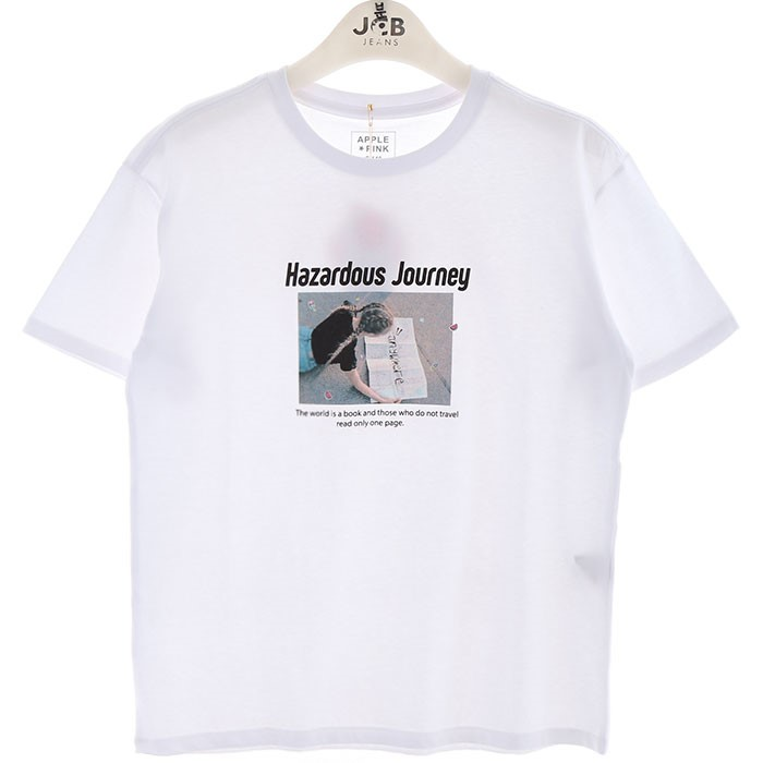 JCB주니어 NC02 소녀 프린트 면 티셔츠 APK8P308