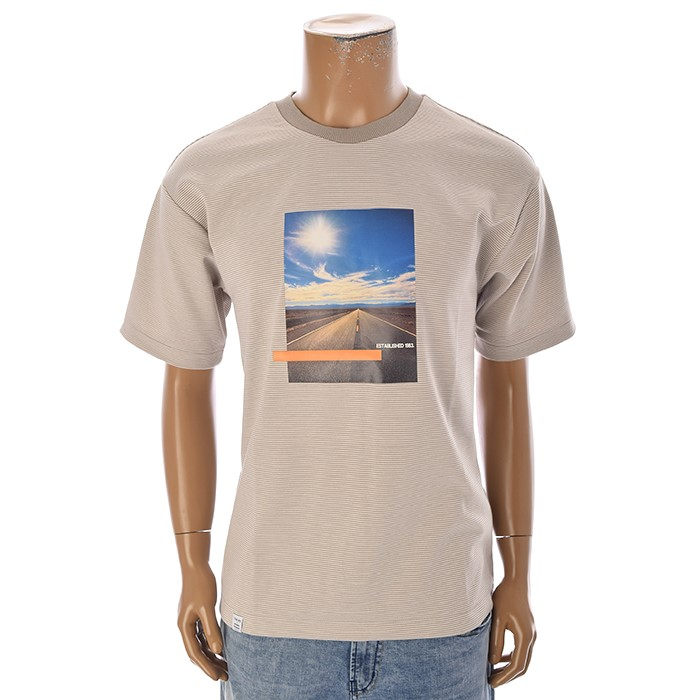 TBJ NC02 남성 스트라이프 티셔츠 T192TS007P 카키