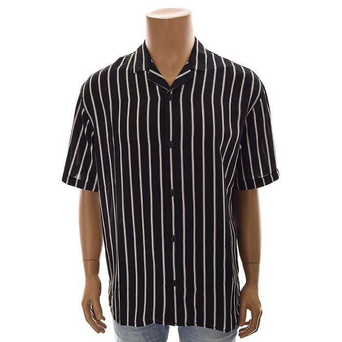 TBJ NC02 루즈핏 스트라이프 셔츠 T192SH331P 블랙
