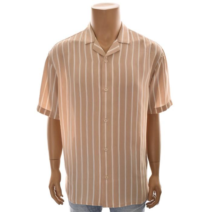 TBJ NC02 루즈핏 스트라이프 셔츠 T192SH331P 베이지