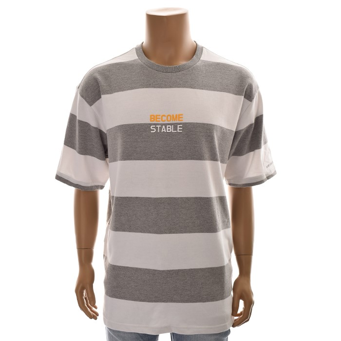 TBJ NC02 유니 스트라이프 티셔츠 T192TS080P 그레이
