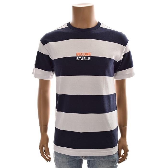 TBJ NC02 유니 스트라이프 티셔츠 T192TS080P 네이비